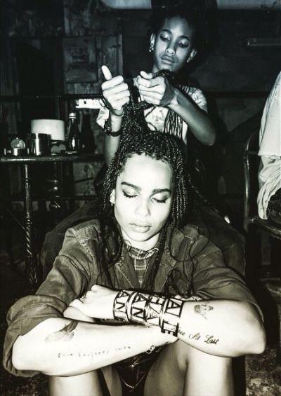 willow smith braiding zoe kravitz  hair