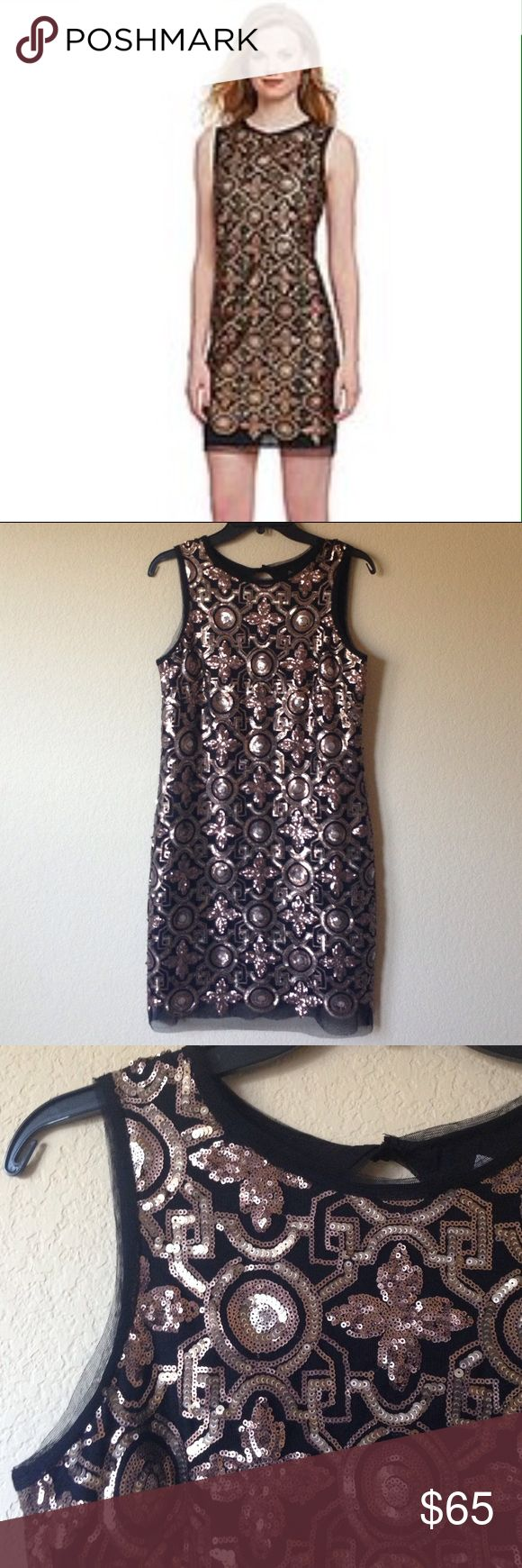NWT Sequin Party Dress This dress is gorgeous, perfect for New Years Eve, a cruise or holiday party. Clasp around the neck with key hole opening in the back , fully lined Chelsea & Violet Dresses Mini