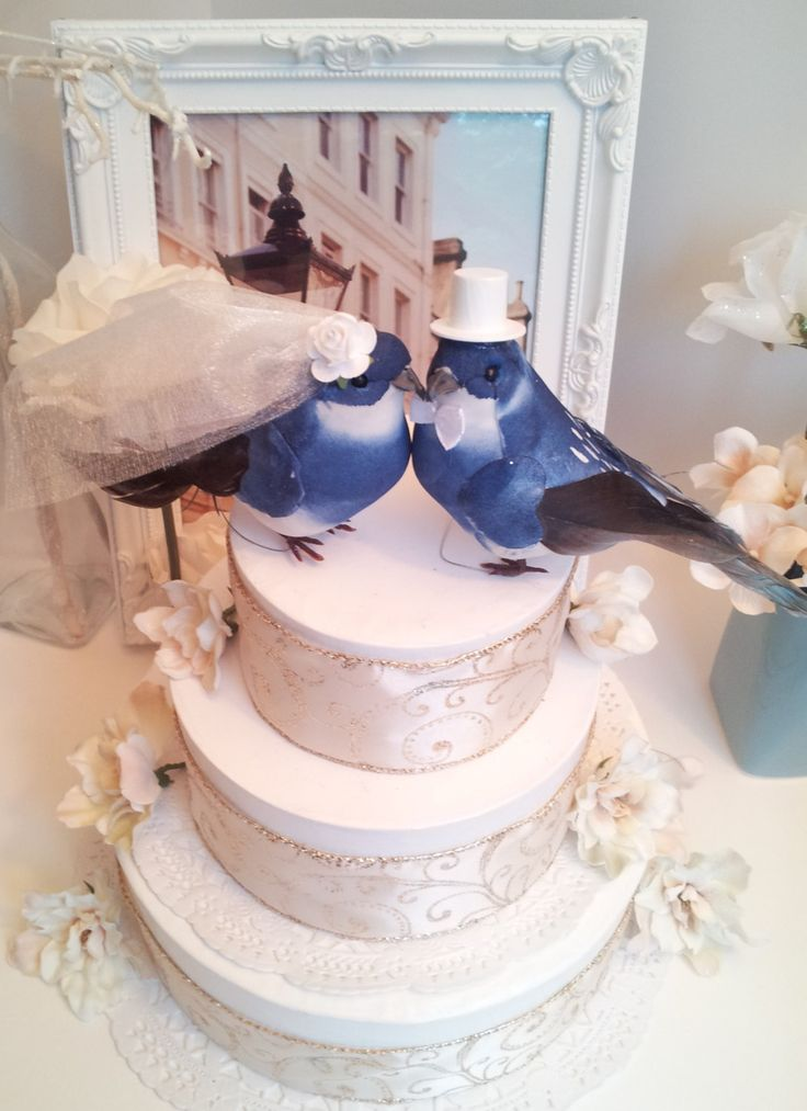 large royal blue wedding love birds cake topper by MissRoseDanae,