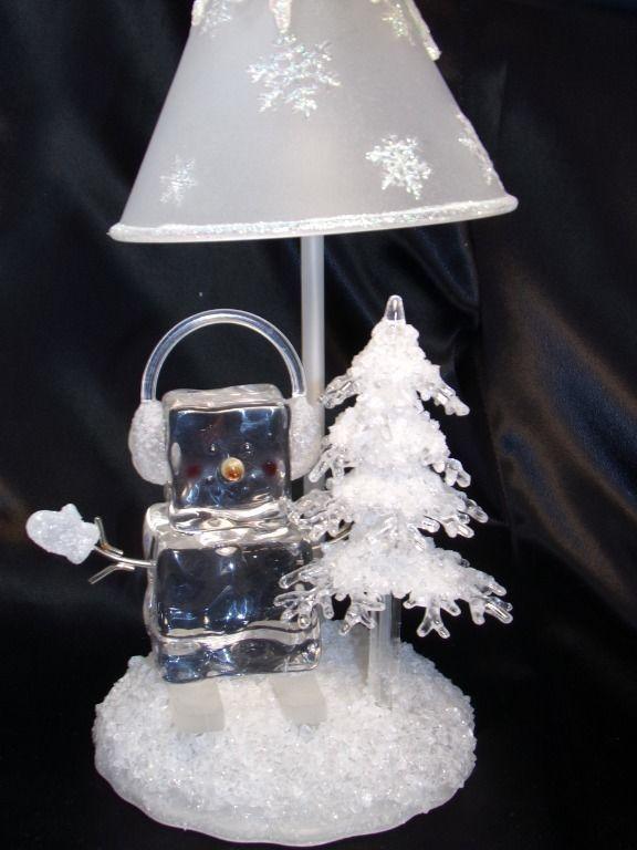 Easter Wreath: Ice Fellas Snowman Lamp Light Block Frit Cube Midwest