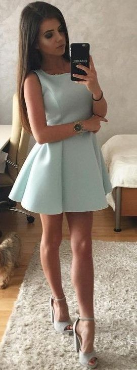 #summer #trendy #outfits  |  Mint Blue Skater Dress