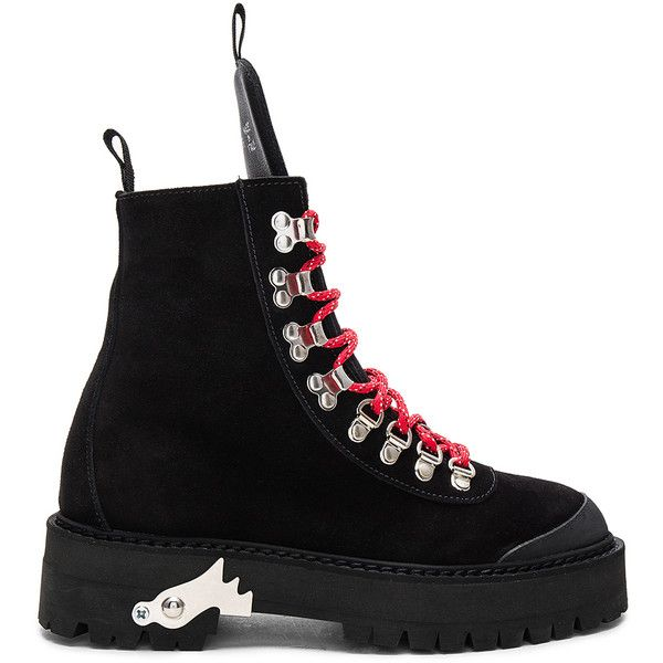 OFF-WHITE Hiking Mountain Boots (46,310 DOP) ❤ liked on Polyvore featuring shoes, boots, ankle boots, short boots, lace up boots, laced boots, rubber sole boots and bootie boots