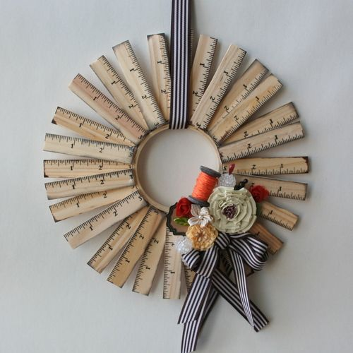 Wooden Ruler Wreath...This would be great for a teacher's gift.