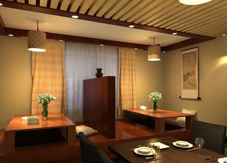 Japanese Restaurant Interior Design Night Rendering On Extraordinary Dream House