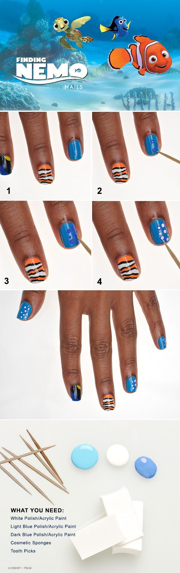 Show Your Disney Side: Nemo-Inspired Nail Tutorial. Brightt cobalt blue nails with black and yellow for Dory. Orange stripped nails for Marlin and Nemo!
