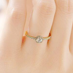 婚約指輪 K18YG ヘイロー ダイヤモンドリング エタニティタイプ for 0.2ct | BRILLIANCE+