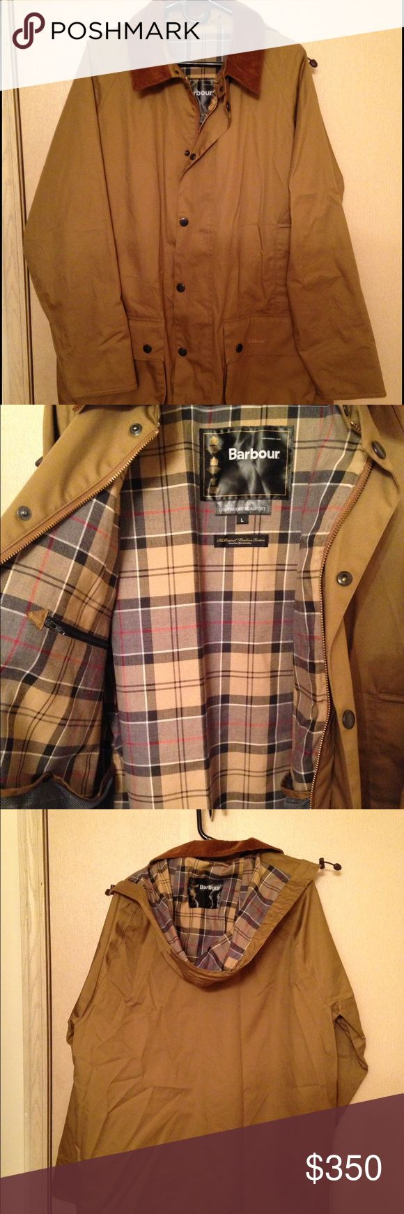 Barbour Beaufort Jacket This is a men's Barbour Lightweight Beaufort Jacket in a size Large with the hood. There are no flaws all zippers and snaps work. The jacket is just wrinkled from being stored. Barbour Jackets & Coats