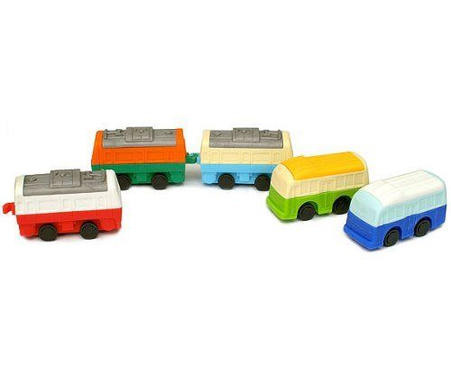 Buses and Train Cars Erasers Set of 5 by Iwako. $5.00. Eco-friendly, non-toxic, no PVC, lead free. Puzzle erasers, take apart and put back together. Made in Japan. Collectable, gifts, rewards, party favors, stocking stuffers. For kids over 3 years old. Go green with our buses and train cars eraser set. Each set comes with three train car erasers and two bus erasers, with interchangeable colors and rolling wheels. Make your own color combinations by switching pieces o...