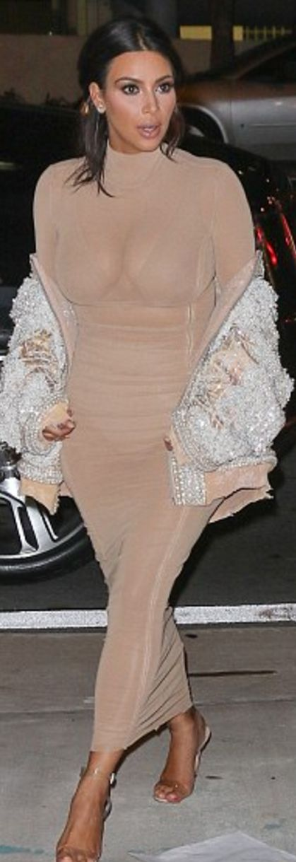Kim Kardashian: Coat – Balmain  Dress – August Getty  Shoes – Manolo Blahnik