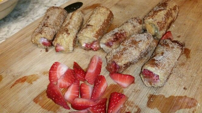 Strawberry cream cheese, cinnamon sugar french toast roll ups