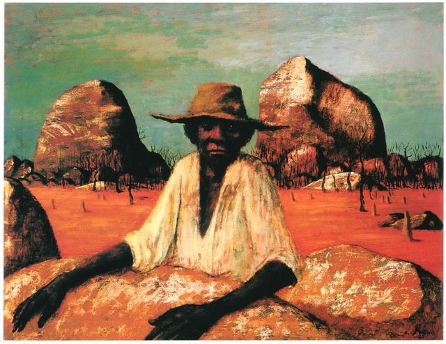 Russell Drysdale, 1912- 1981, Australian  Man in a Landscape, 1963  Oil on canvas, 90 x 116 cm  Collection of Her Majesty Queen Elizabeth the Second