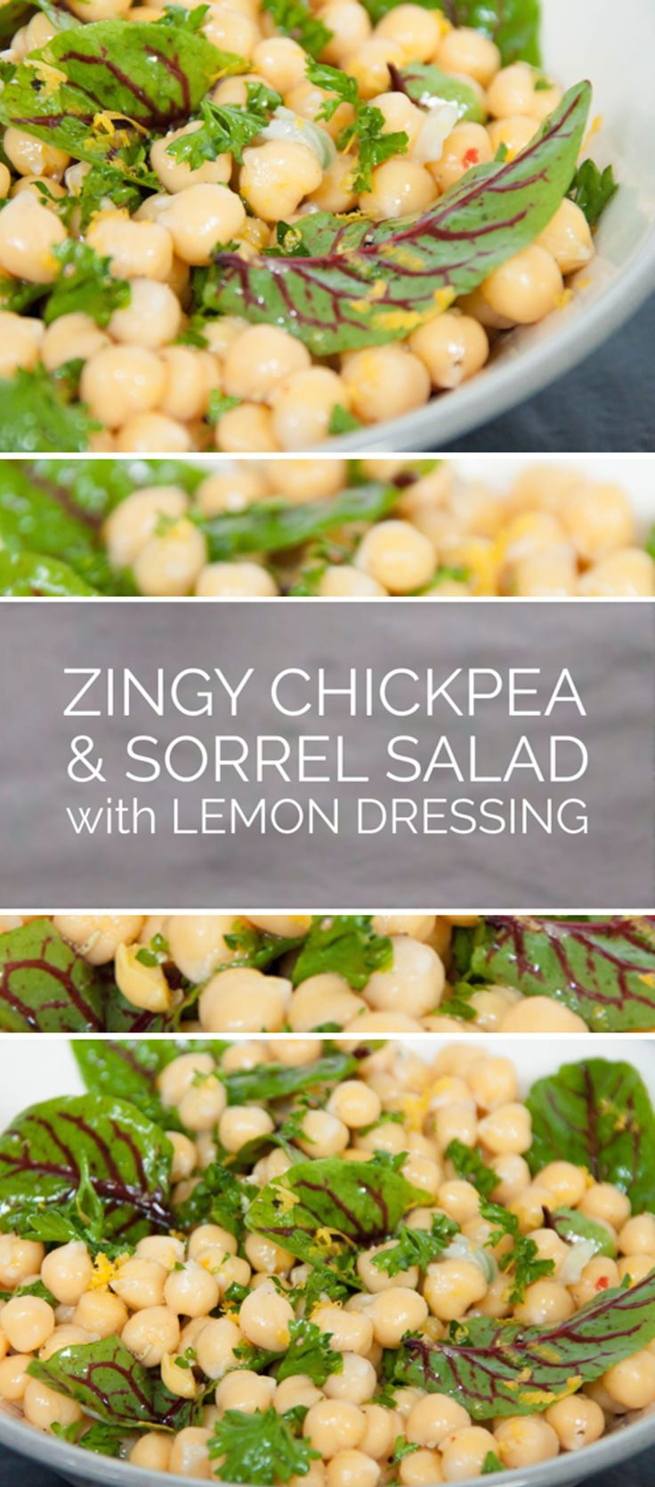 A great recipe for a chickpea and sorrel salad with zingy, lemony dressing.