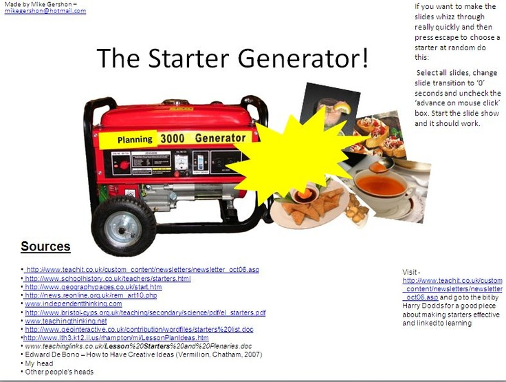 The #LessonStarter Generator - 200 lesson starters all in one place