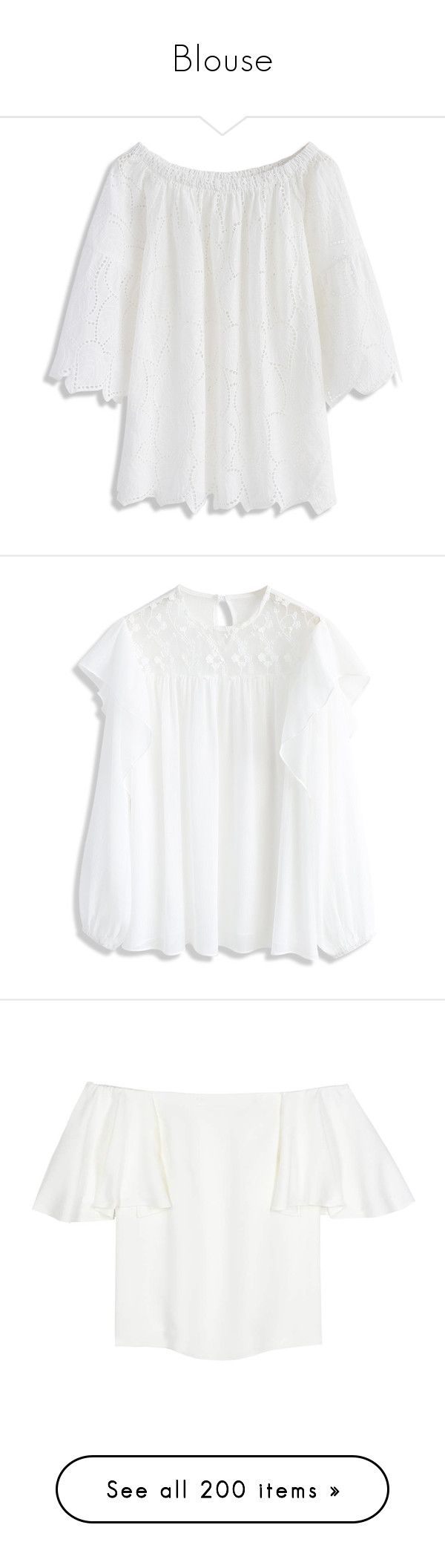 """Blouse"" by luciaborrayo on Polyvore featuring tops, white, cut loose tops, eyelet off the shoulder top, white off the shoulder top, white eyelet top, leaf print top, transparent top, frilly tops y frill top"