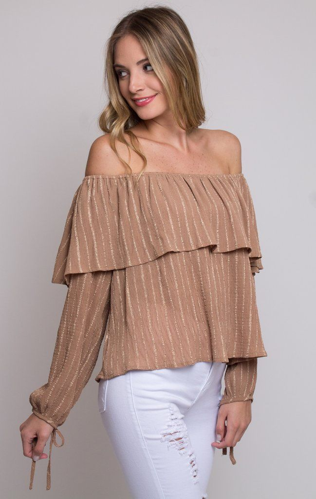 """Stripe Linen Top has off the shoulder elastic seam with flare sleeves. HandWash, Cold Fits True to Size Model is 5'7"""" Wearing Size S 100% Rayon"""