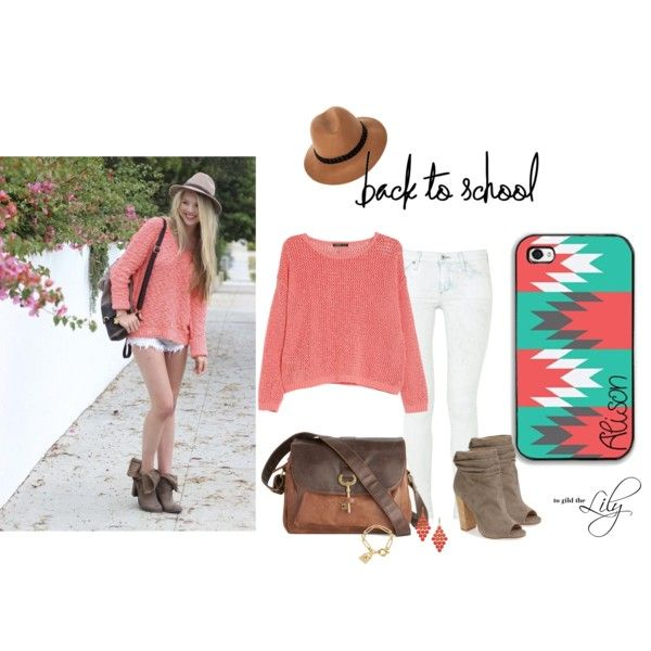 """""""Back to school – coral sweater and bleached jeans"""" by togildthelily on Polyvore..  Outfit for school, teens, women, college,"""