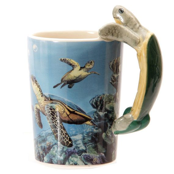 Coffee Cup Fun Underwater Design Shaped Handle by getgiftideas