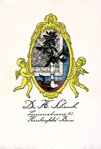 Artist: HAEFLIGER, Paul | Title: Bookplate: Dr H Scheuk, Luiseustrasse 41 | Date: c.1930 | Technique: woodcut, printed in black ink, from one block; hand-coloured