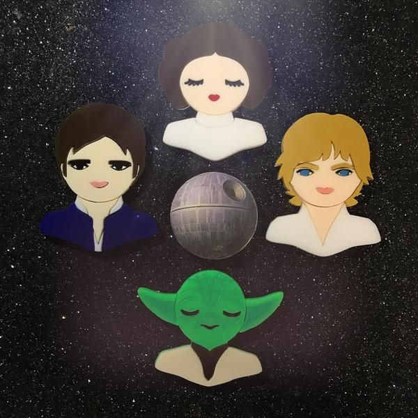 """Brooch set dedicated to one of the most powerful stories of our generation, a heroic story of love, battle, wisdom and strength """"a long time ago in a galaxy far"""