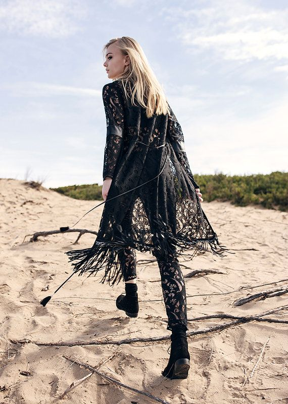 Light summer coat / cover-up, lace with floral pattern, black leather tassels, decorative ribbon, silver chains, beads, boho style, festival
