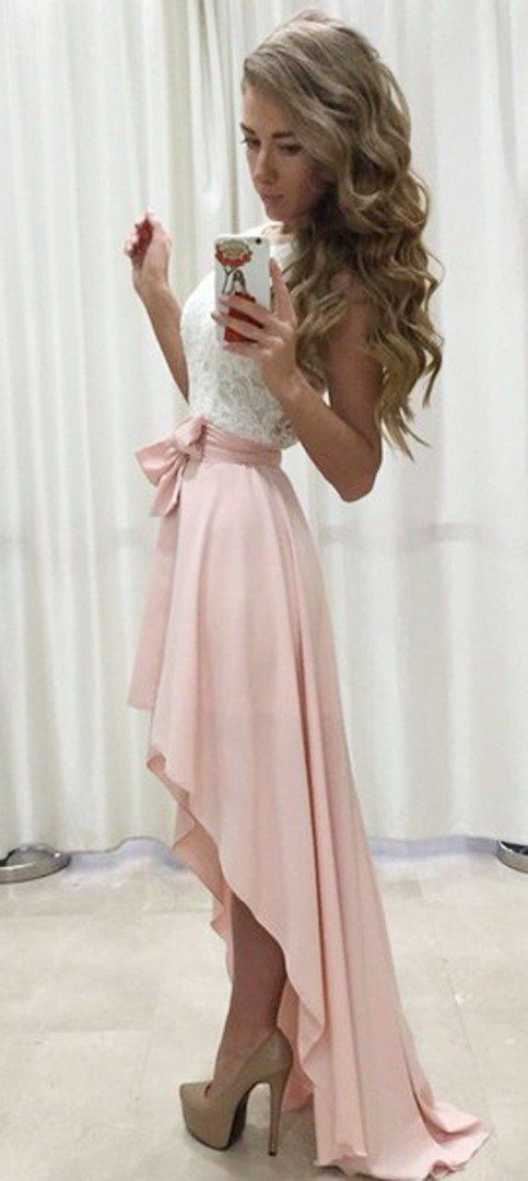 cute princess dress for date with high low bottom
