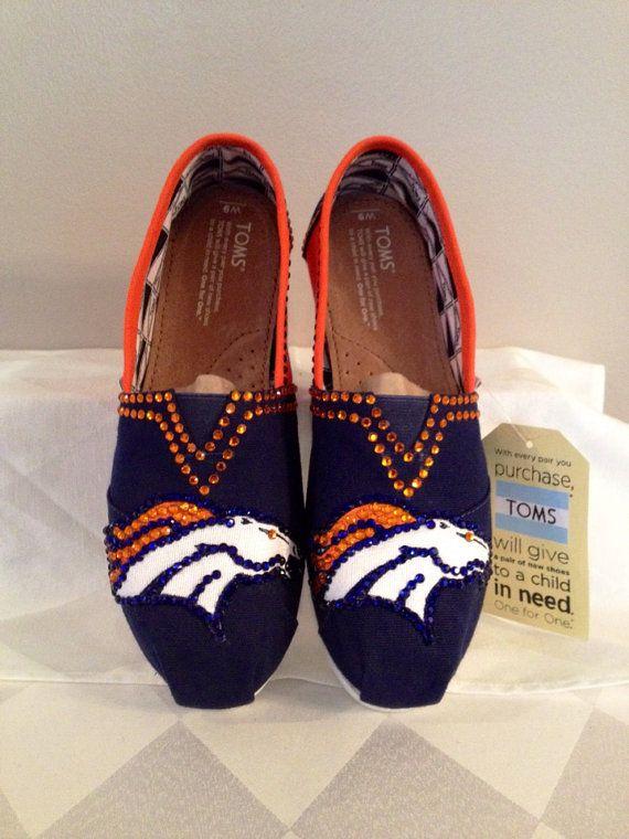Denver Broncos custom toms, custom bling Toms, hotfix rhinestones , Broncos apparel , Denver Broncos  toms free shipping
