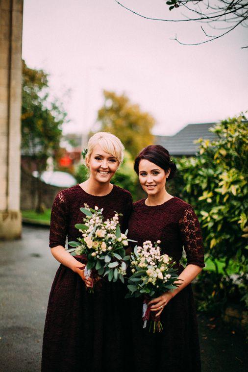 Image by Lawson Photography - Ivory Jenny Packham Eden Gown | Juliet Cap Veil & Flower Crown | Autumnal Colours | Oxblood Bridesmaid Dresses | Rivington Hall Barn | Lawson Photography | http://www.rockmywedding.co.uk/sarah-darren/