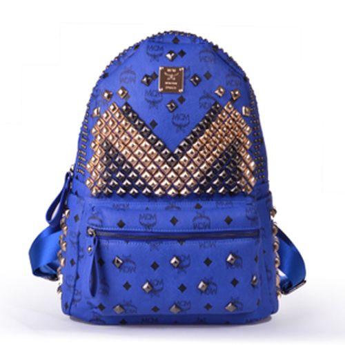 MCM Worldwide Outlet Store/Cheap MCM Outlet Seoul Backpack Rivet Design Dark Blue