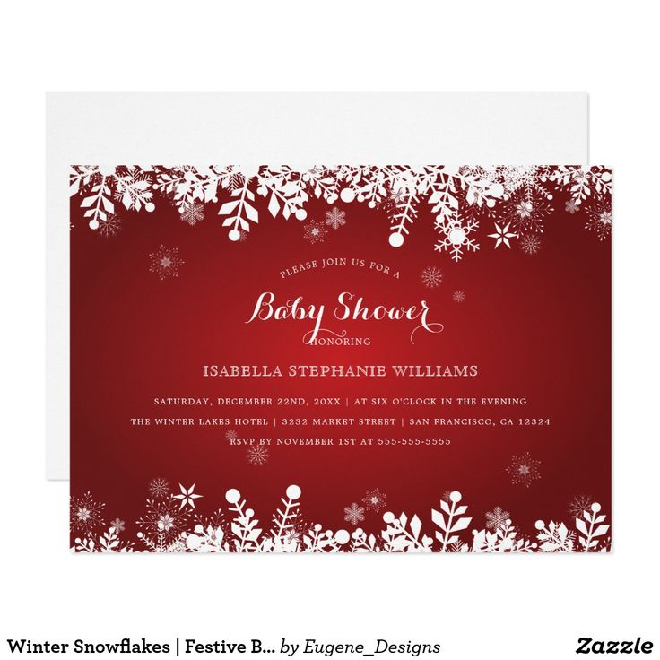 free printable camo baby shower invitations templates%0A Winter Snowflakes   Festive Baby Shower Card