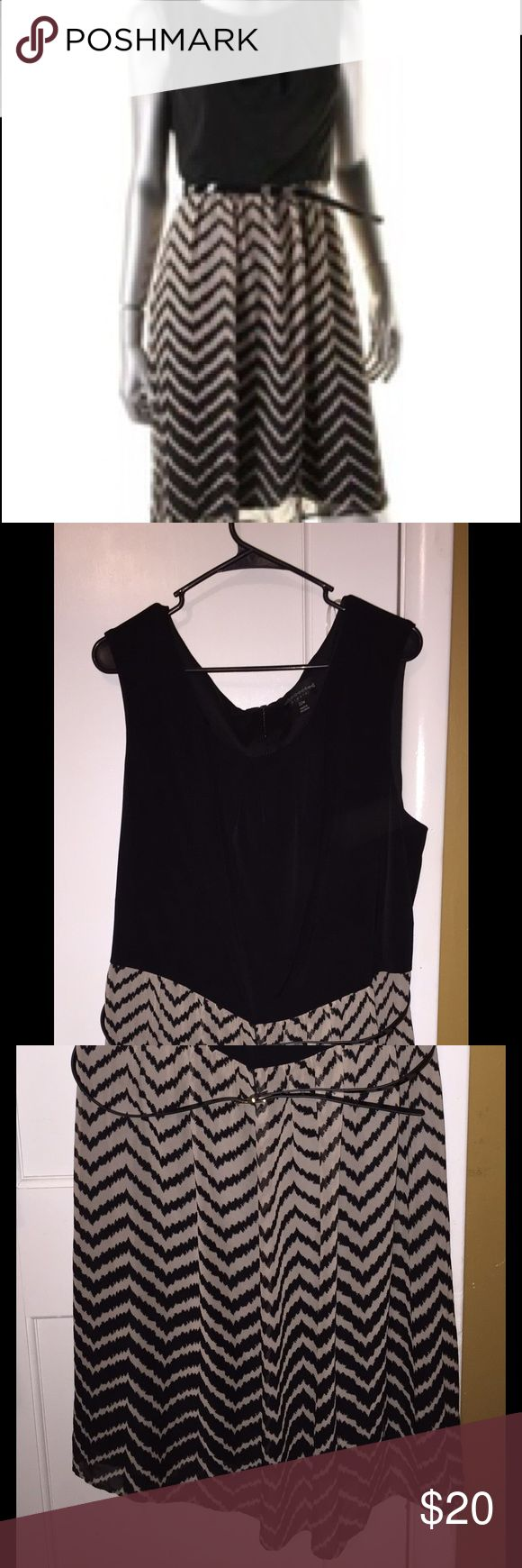 Connected Apparel Plus Size Chevron Dress Excellent condition - worn once. Size 22W, stretchy and very comfortable. Belted, Sleeveless, Jewel Neck dress. So cute on! it is just too large for me. Pet and smoke free home. Connected Apparel  Dresses Midi