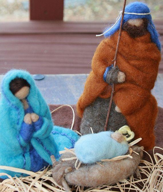needle felted nativity