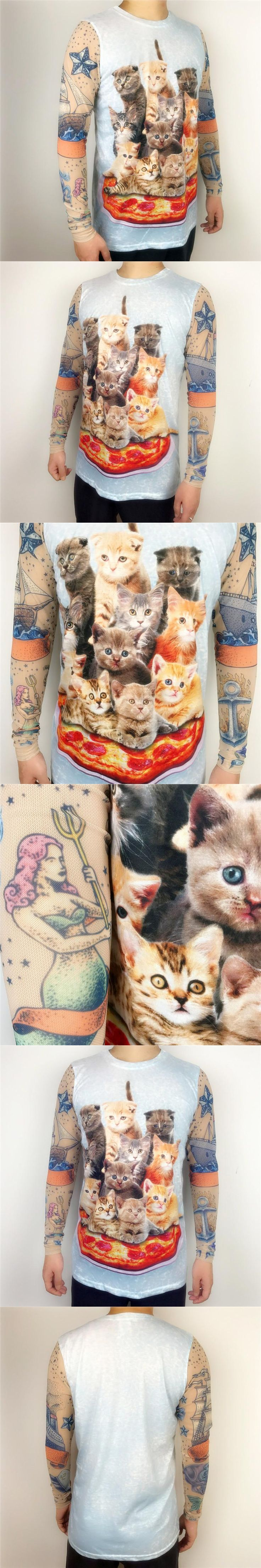Cute Pizza Cat Printed T Shirts for Men with Patchwork Tattoo Cover Up Long Sleeves Funny Boys Kawaii Tee Plus Size S-2XL