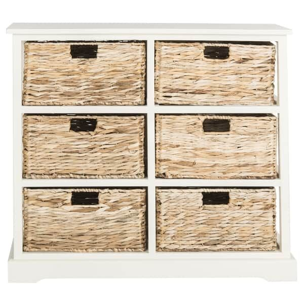 Safavieh Keenan Distressed White 6 Drawer Wicker Basket Storage Chest 32 1 X 13 4 X 29 5 Wicker Baskets Storage Wicker Baskets Storage Baskets