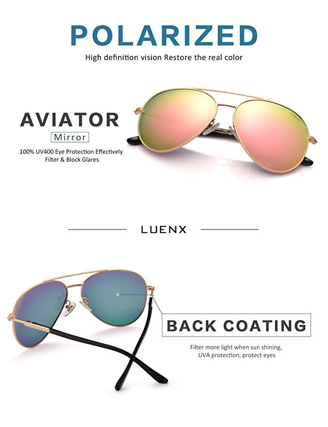 d2cca4527f Amazon.com  Womens Sunglasses Aviator Polarized Pink Mirror by LUENX - UV  400 Protection Gold Frame 60mm  Shoes
