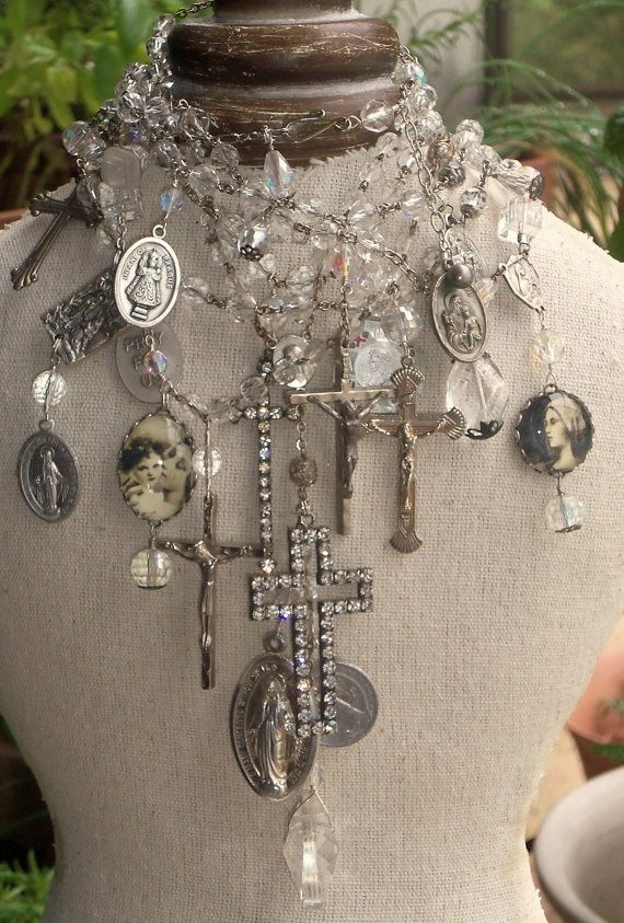 Let it Shine Antique AB Crystal Rosaries Statement necklace vintage French medals
