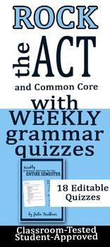Entire Semester of Weekly Grammar Quizzes {ACT, EOC, Test