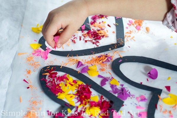Crayon Hearts Suncatchers How To