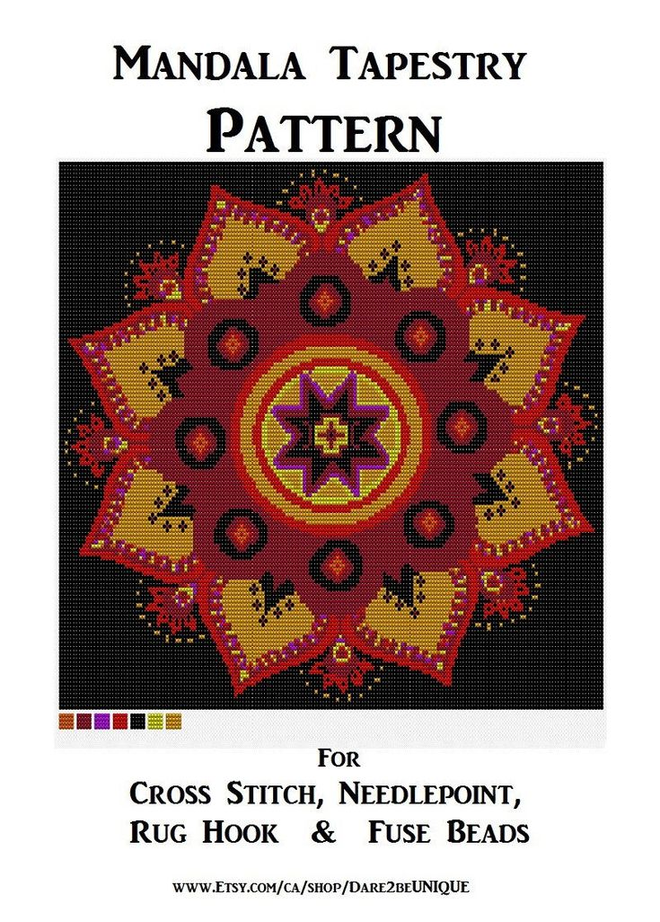 Lotus Mandala Tapestry PATTERN, Cross Stitch, Needlepoint Embroidery, Rug Hook Designs, Perler Patterns, Hama Crafts, Yoga Art Download PDF by Dare2beUNIQUE on Etsy