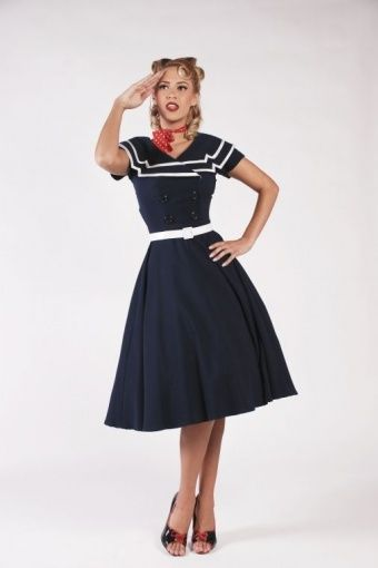 Bettie Page Clothing - 50s Captain Blue Flare dress