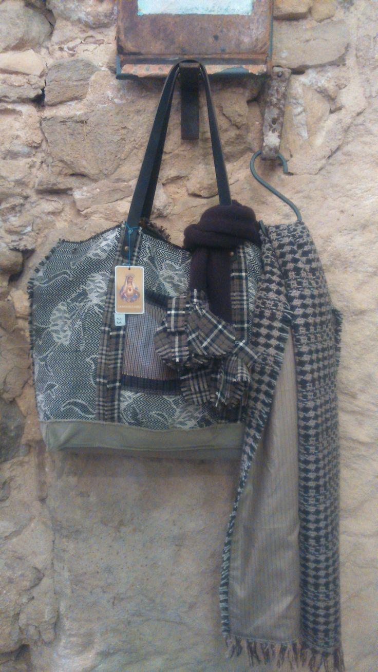 Bolso de lana patchwork vintage