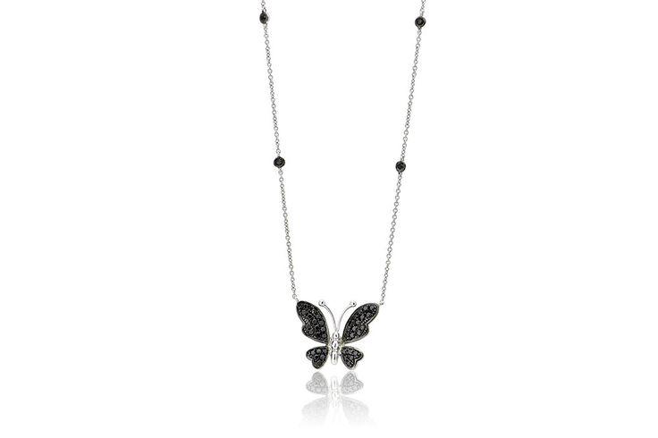 Κολιέ με μαύρα διαμάντια μπριγιάν κοπής 0,47CT από λευκόχρυσο 18Κ.Necklace with black brilliant cut diamonds 0,47CT made by 18K white gold. Price : 850 €