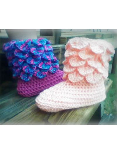 Crochet - Crochet Clothing - Slipper Patterns - Adult Crocodile Stitch Boots ...
