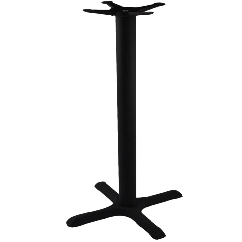 "Advantage Bar / Restaurant Bar Height Table Base - These commercial-grade black, cast iron, 40.5-inch tall bar table bases are built to provide years of service in any restaurant, bar, café, pub or bistro. Offered at a very competitive price, these solid cast black metal commercial bar & pub table bases also feature a textured, powder coated black frame finish which complements any restaurant or bar decor.  Available in 22""x22"", 22""x30"" and 30""x30"" table base sizes."