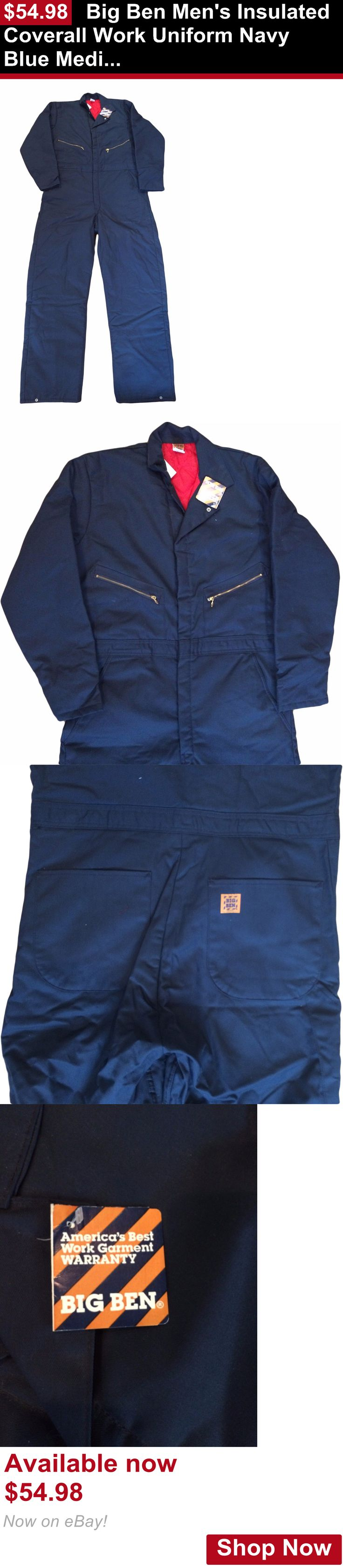 Adult uniforms: Big Ben Mens Insulated Coverall Work Uniform Navy Blue Medium - Long Irregular BUY IT NOW ONLY: $54.98