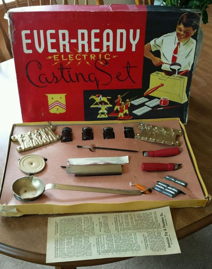 VTG EVER-READY Electric Casting Set Lead Mold Toy home foundry Gangster gun men #AmericanToyandFurnitureCompany