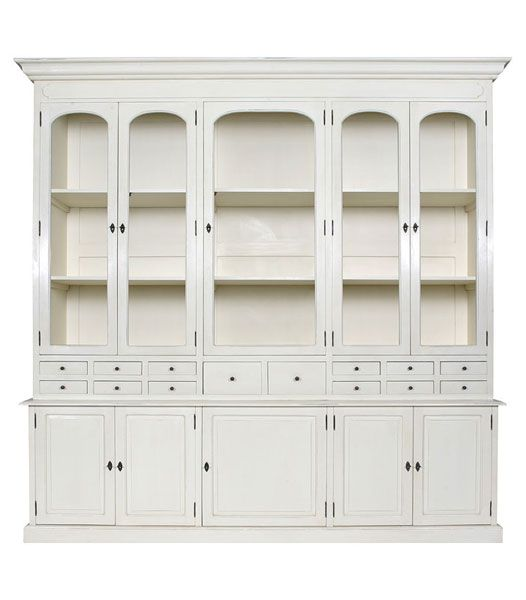 AMELIA French Country Buffet & Hutch Display Cabinet - Antique White