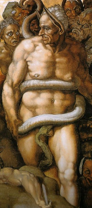 Michelangelo, giudizio universale, dettagli 50 - The Last Judgment (Michelangelo) - Wikipedia.  Minos as judge of Hell. [The artist gave Biagio de Cesena as Minos donkey ears to indicate foolishness.]