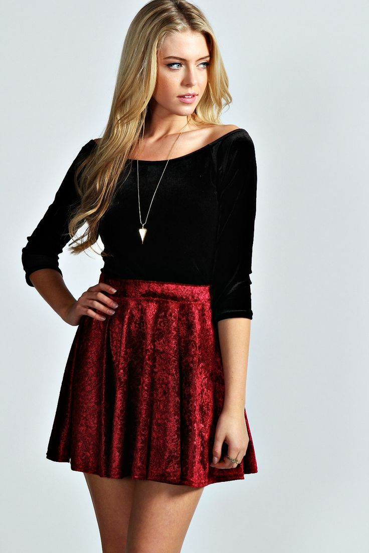 Velvet Skater Skirt, a dressy but casual option for boohoo, is perfect for a spe…