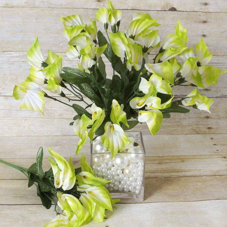 wedding centerpieces fake flowers%0A     Wholesale Artificial Mini Calla Lilies Wedding Flower Vase Centerpiece  Decor  Lime