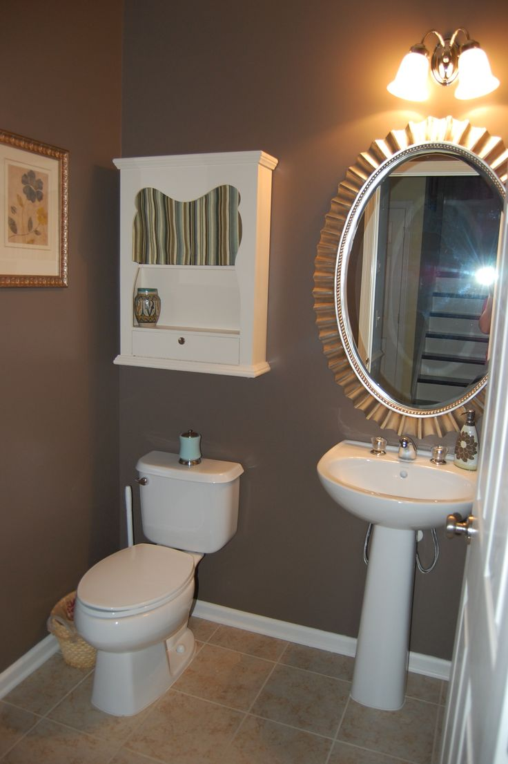 Bathroom, Lovable Brown Bathroom With Outstanding Oval Wall Mirror Framed  Design Also Fetching White Wood Cabinet Idea ~ Stunning Bathroom Paint Ideas  With ...